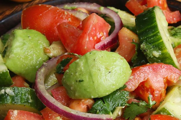 Here's a video showing you how to make it: | This Cucumber, Tomato, And Avocado Salad Is Super Fresh And Tasty