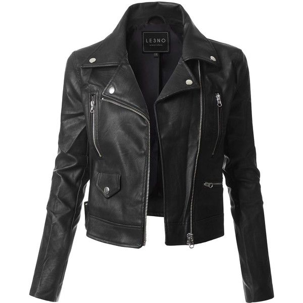Le3no Womens Faux Leather Zip Up Moto Biker Jacket With Pockets 30 Liked On Polyvore Featu Leather Sleeve Jacket Leather Jackets Women Fake Leather Jacket
