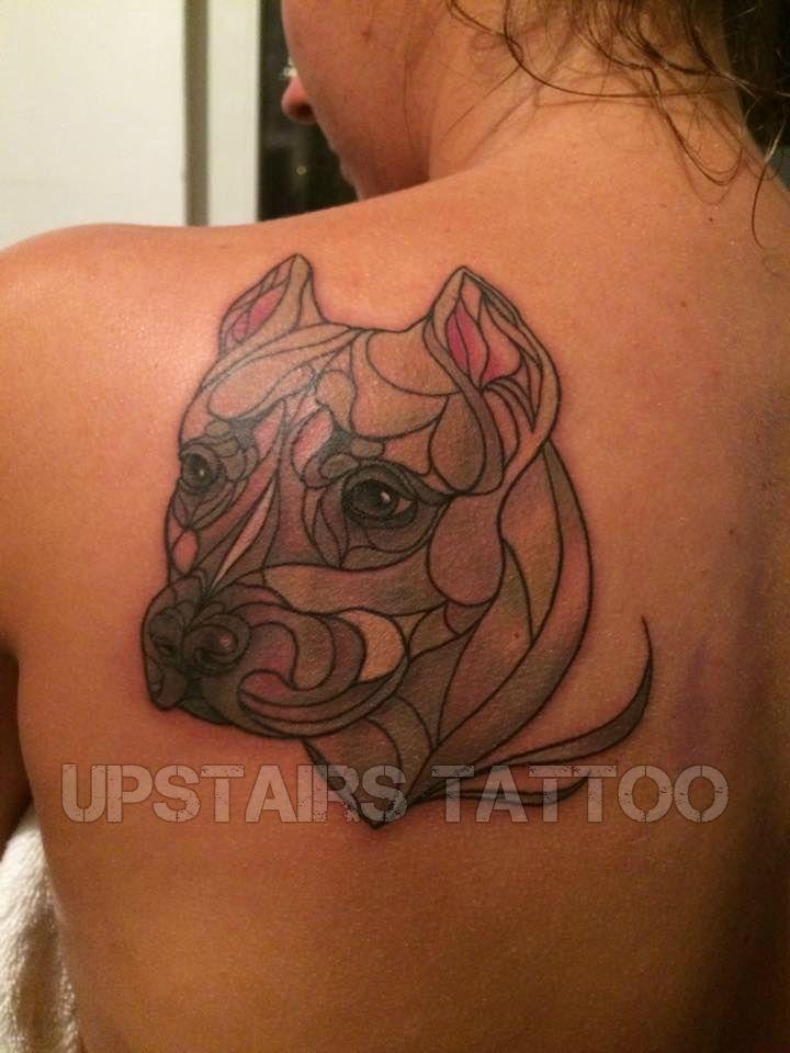 #tattoo #amstaff #portrait #dog #color #new-school by Mihai Bizduianu
