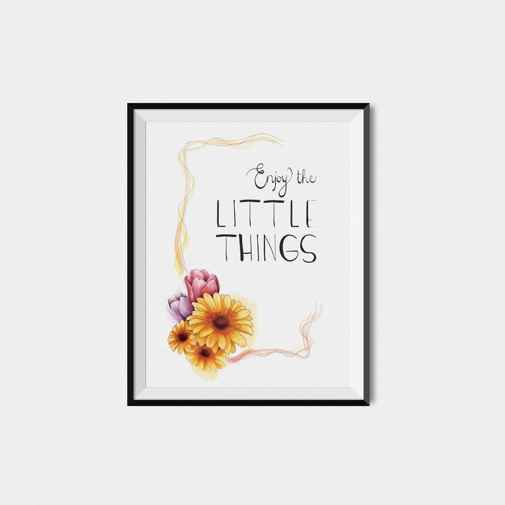Watercolor floral printable quote, calligraphy, inspirational motivational print, Enjoy the little things, digital download, wall decor di VersusPrints su Etsy