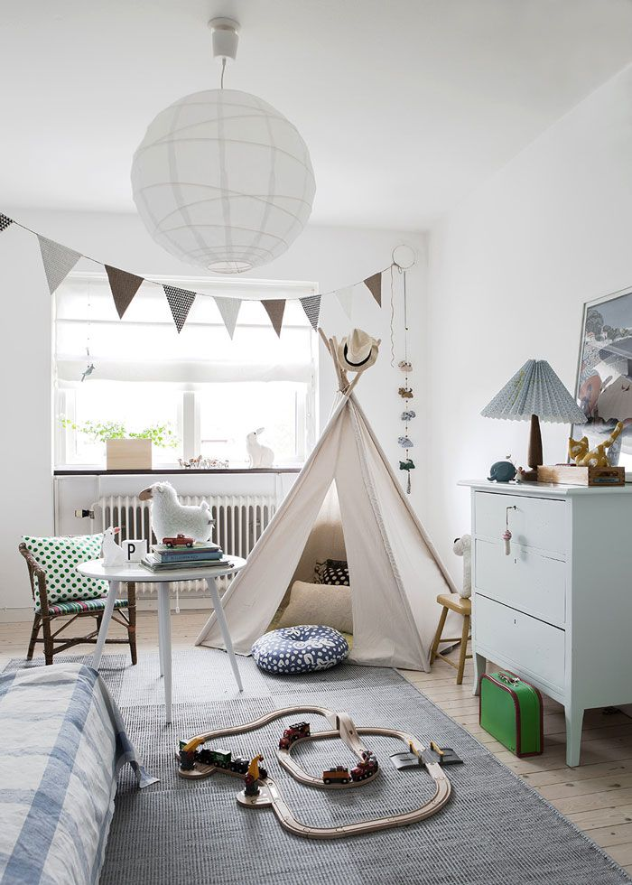 The soft blues and greens in a kids room