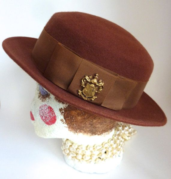 Rust Wool Downtown Hat 1980s by BonniesVintageAttic on Etsy, $30.00
