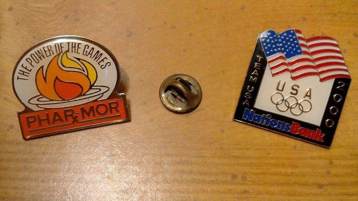 Olympic Sponsor Pins Pharmor Nations Bank 1996 2000 Enamel Hat Lapel Tie Tack