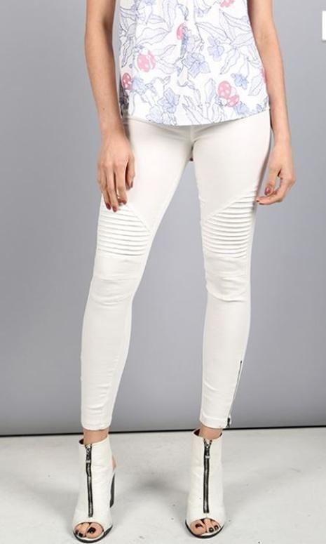 70b8cf1c46e85 Beulah Moto Zipper Legging Jegging -Off White | Products