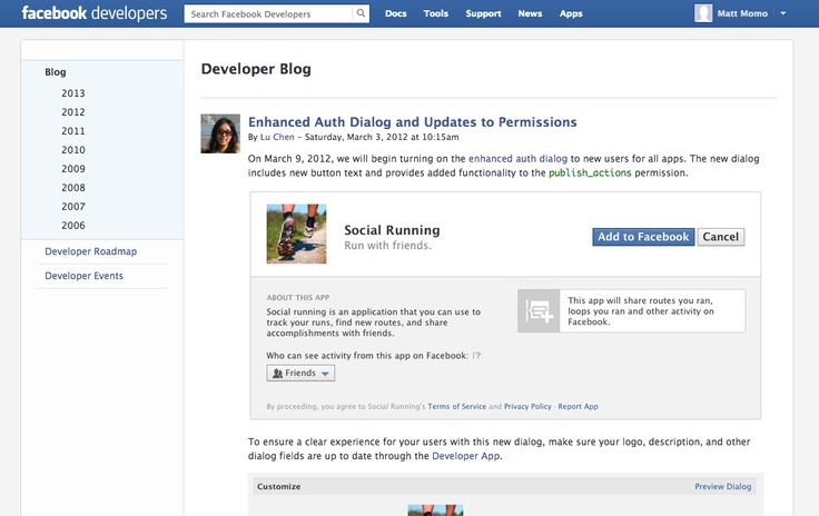 Customise Facebook Permissions Dialog