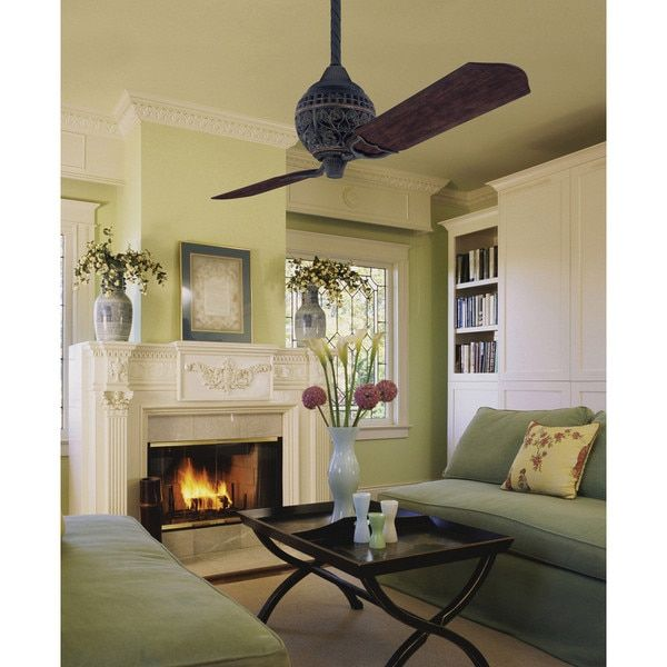 Hunter 1886 Limited Edition 60-inch Ceiling Fan with Two Carved Wood Blades