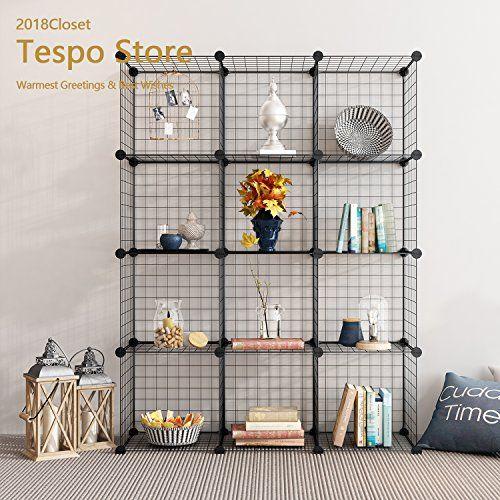tespo metal wire storage cubes modular shelving grids d home design 2019. Black Bedroom Furniture Sets. Home Design Ideas