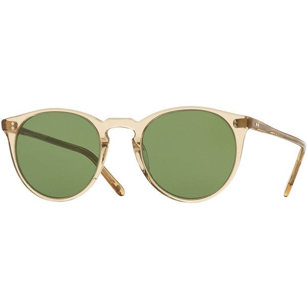 Oliver Peoples The Row O'Malley NYC Peaked Round Sunglasses found on Polyvore featuring accessories, eyewear, sunglasses, yellow, vintage style sunglasses, round lens glasses, yellow lens glasses, round lens sunglasses and acetate sunglasses