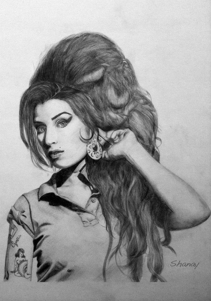 Amy Winehouse by Shanay. #Pencil on #paper. I drew this while listening to her music for 20 hours.