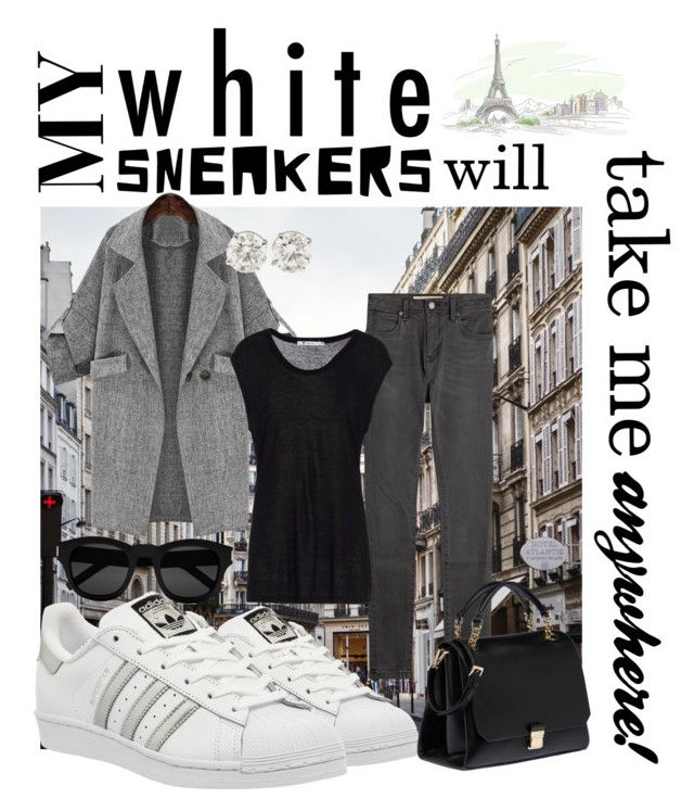 My White Sneakers will take me anywhere! by caryvanessa on Polyvore featuring T By Alexander Wang, Burberry, adidas, Miu Miu, Yves Saint Laurent, white, grey, diamond, polished and structured