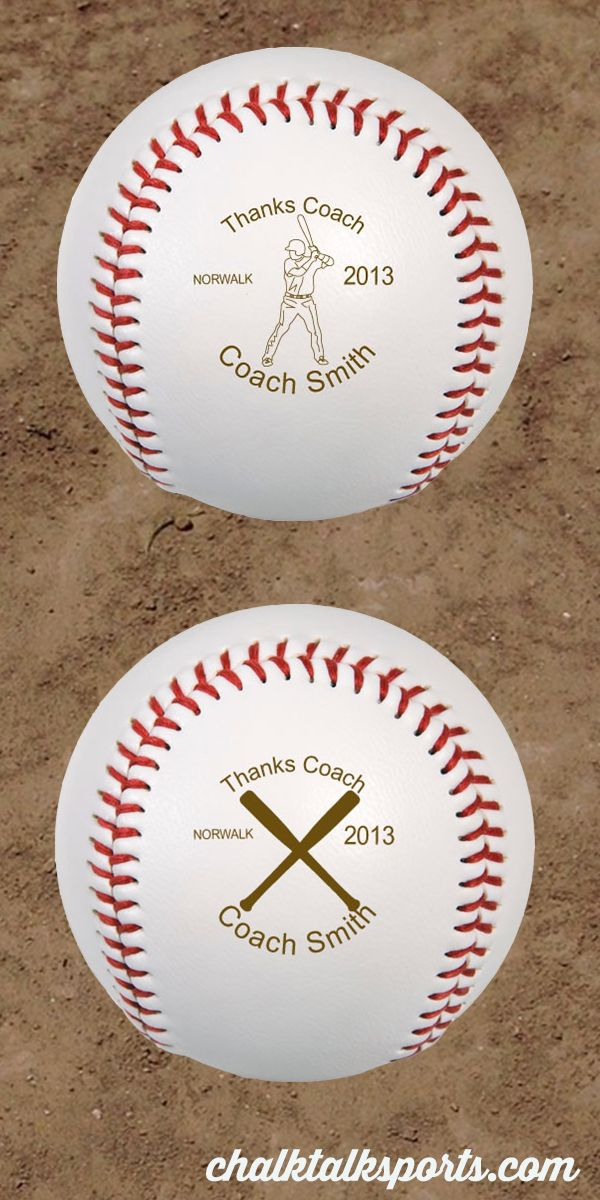 These personalized baseballs are a great gift for any baseball coach!  Let coach know how special he is with this custom gift!  Only from ChalkTalkSPORTS.com!