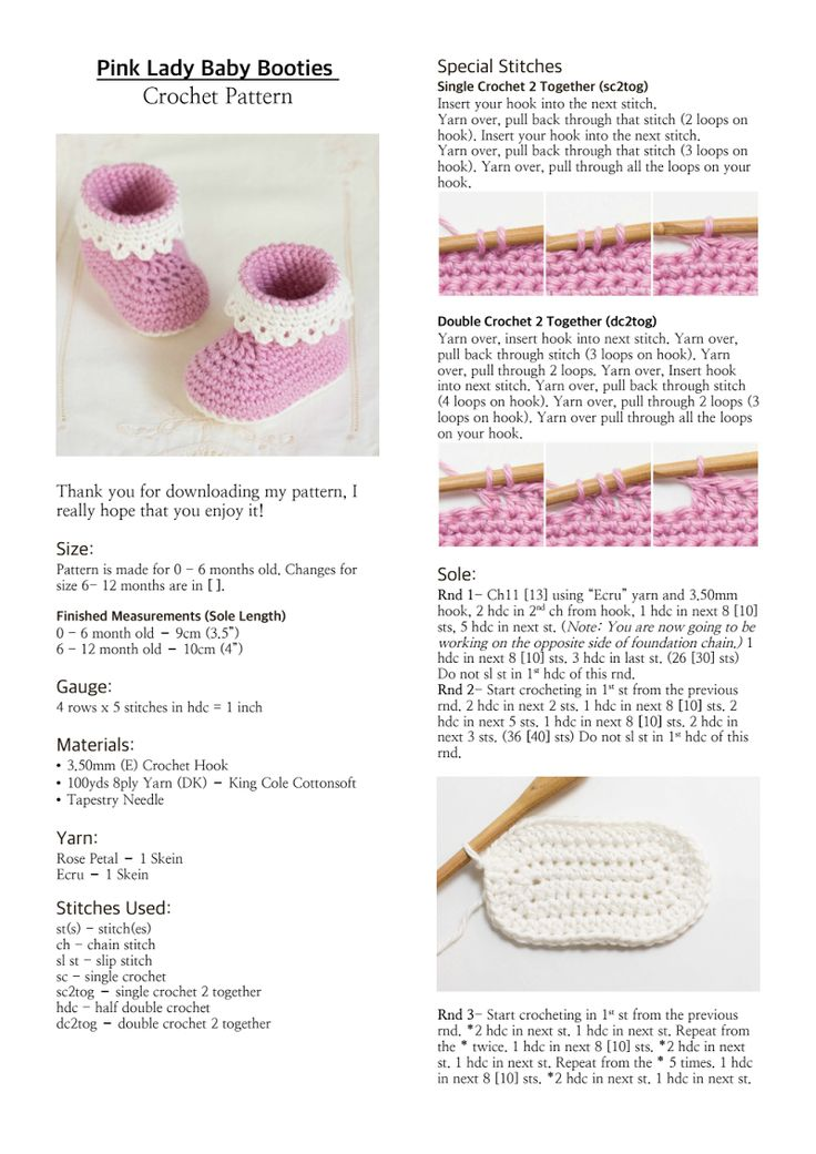 Pink Lady Baby Booties Crochet Pattern.pdf