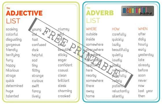 Adjective and Adverb List - Free Printable and Writing Game for Kids