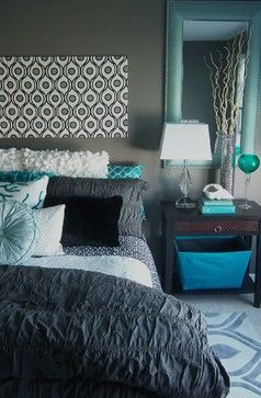Lovely Gray And Turquoise Bedroom Contemporary Bedroom