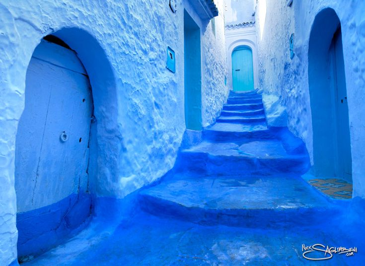 Chefchaouen, Morroco Also known as the Blue City of Morroco because of its blue-rinsed buildings and alleys