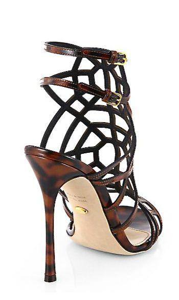 Sergio Rossi Woman Two-tone Woven Leather Sandals Dark Brown Size 37 Sergio Rossi 0dJqBR