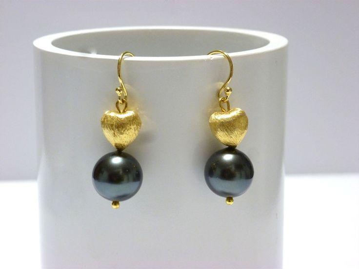 Ohrhänger - Ohrringe Muschelkernperlen TAHITI Look - ein Designerstück von Juwellyda bei DaWanda