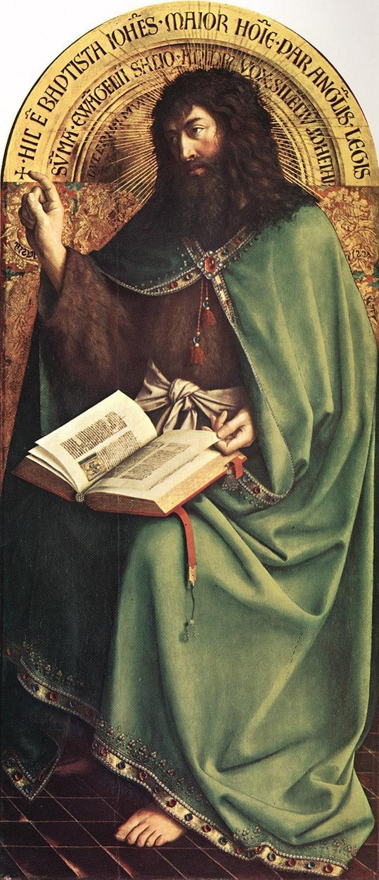 "Jan van Eyck (1395 -1441) ~ The Ghent Altarpiece, St John the Baptist, 1432. Sint-Baafskathedraal (Cathedral of St Bavo), Gent, Belgium.Considered to be the joint masterpiece of Hubert & Jan van Eyck, The Ghent Altarpiece, dated 1432 by inscription and is mounted on wood frames that were replaced at least a couple of times between 1432 and 1600. According to the initial inscription, both Van Eycks painted it, but Hubert was considered ""first in art"", whereas Jan was mentioned as ""second in…"