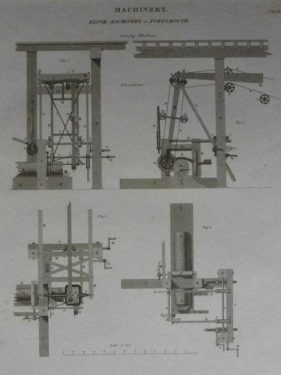 Original 1820 technical print of machinery, showing mechanical pulley systems. Nearly 200 years old, this mechanical print is contemporary to Britain's Industrial Revolution.