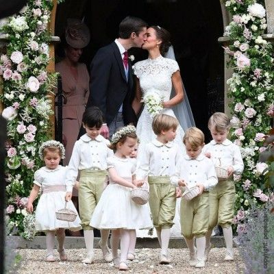 we love pippa middleton's flower girls and page boys! for a traditional wedding, find the perfect flower girl dresses and page boy outfits at littleeglantine.com, french Royal designer