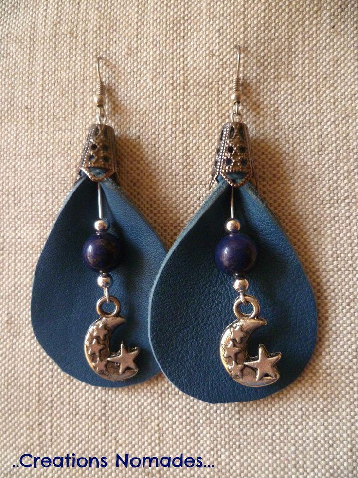 Bijoux fait main Boucles originales - Arum Cuir Bleu et Pierres Lapiz Lazuli…