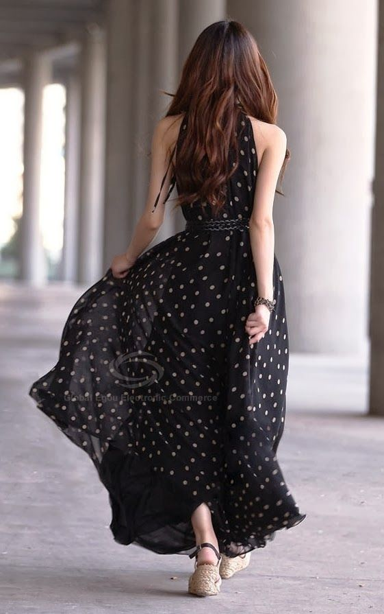 Sleeveless flowy maxi polka dot dress