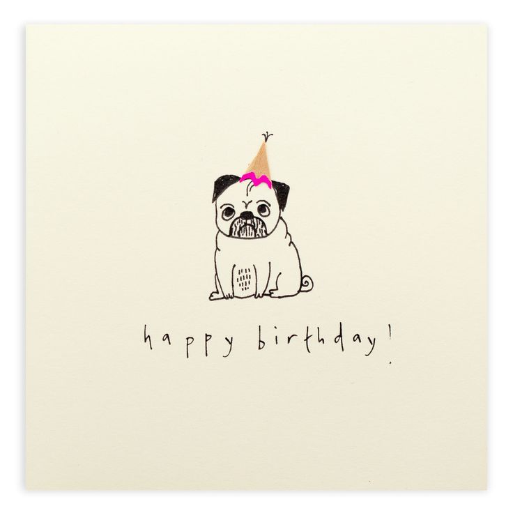 Nothing says Happy Birthday like a lovely pug | Ruth Jackson pencil shavings card