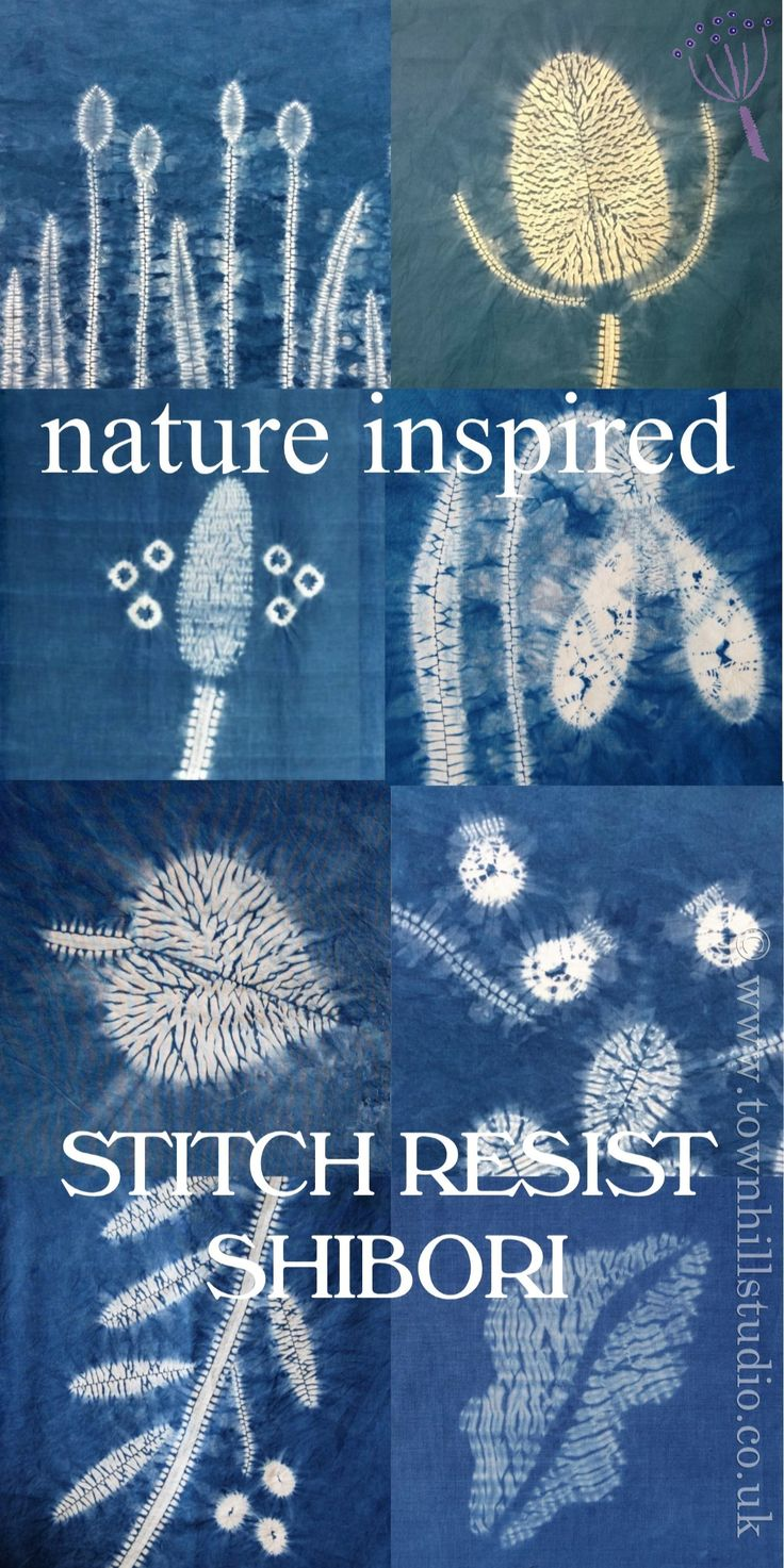 Various striking patterns created with different methods of shibori stitch resist with indigo dye all by Townhill Studio. Inspired by the natural world a great variety of designs are shown: teasels, grasses, plantain, leaves berries and flowers, so much is possible!