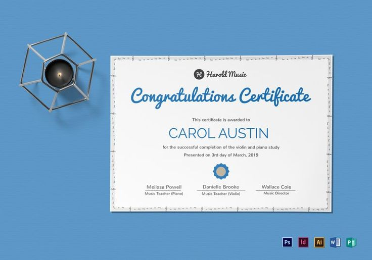 202 best certificate design templates images on pinterest music training completion certificate template 12 formats included illustrator indesign ms word yadclub Gallery