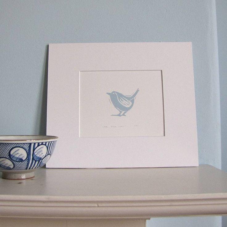 little blue wren lino cut print by linen prints   notonthehighstreet.com
