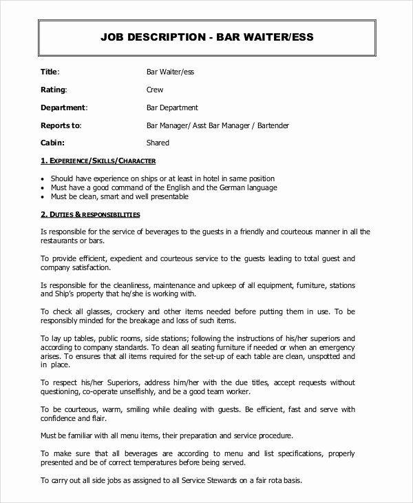 Bar Manager Job Description Resume Unique Sample Waiter Job Description 11 Examples In Pdf In 2020 Job Description Manager Resume Resume
