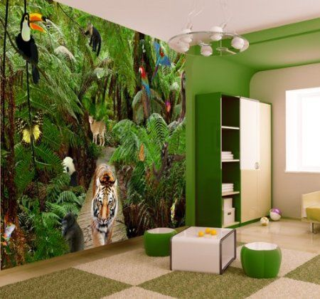 JUNGLE WALLPAPER MURAL Amazon.co.uk DIY & Tools Walls