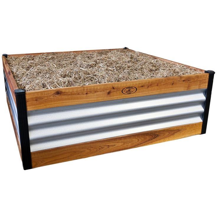 Birdies 1100 x 1100 x 400mm Aluzinc Corrugated Steel and Timber Designer Range Garden Bed  $150