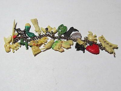 Vintage-Cracker-Jack-Figural-Celluloid-Charm-Bracelet