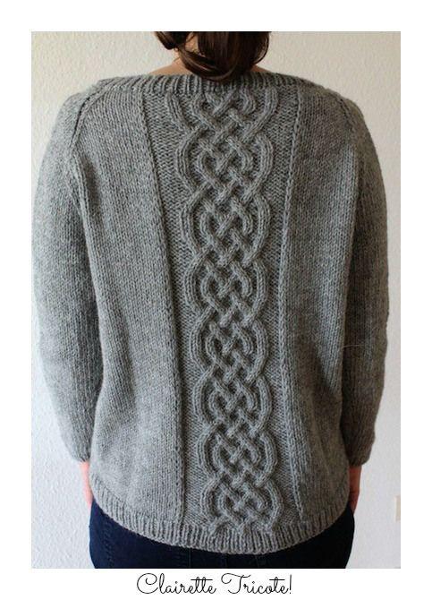 cable sweater/ pull à torsade pattern/modèle Clairette Tricote!