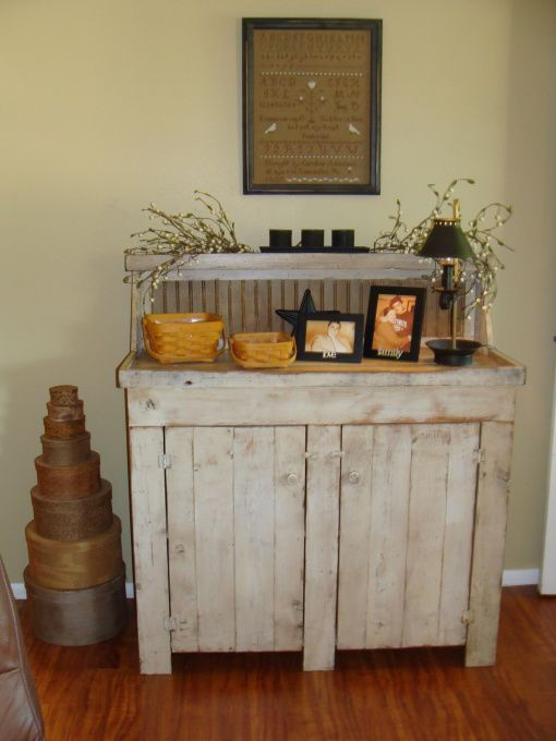 primitive buffet in dining room