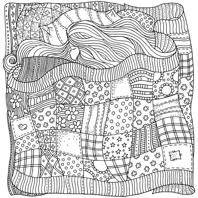 Раскраска спящая девочка. Скачать узоры, для взрослых ...