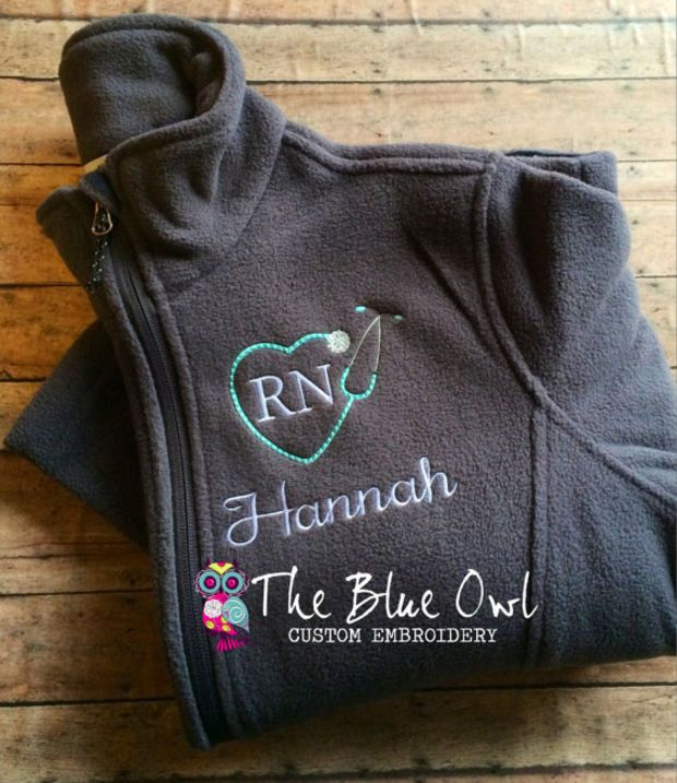 Nurse Heart Stethoscope Custom Monogrammed Full Zip Fleece Jacket