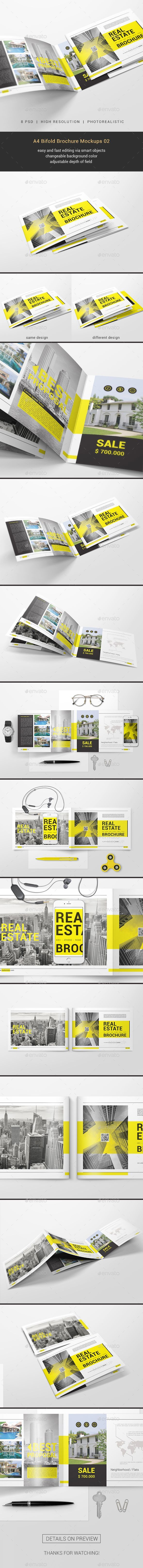 A4 Bifold Brochure Mockups 02 A4 Bifold Brochure Mockups 02 Features: 8 photorealistic styles Page size: 297×210 mm High Resolution. 3000×2000 pixel size, 300dpi Easy and fast editing via smart objects Changeable background color Adjustable depth of field Organized layers and folders