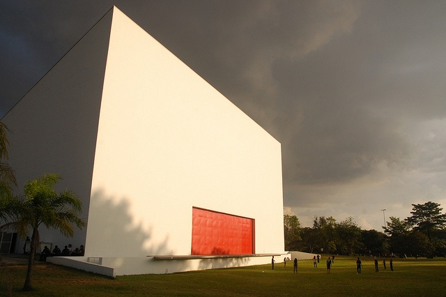 Ibirapuera Auditorium @Sao Paulo. Some of the events happens outdoors at the backside of the building. You can then lay on the grass looking at the sky. Good vibes. www.auditorioibir...