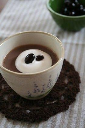 黒豆の煮汁で豆乳プリン