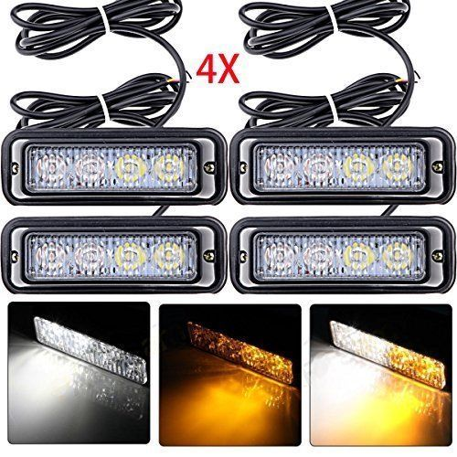 4-led white & amber waterproof emergency beacon flash caution strobe light bar   #AstraDepot