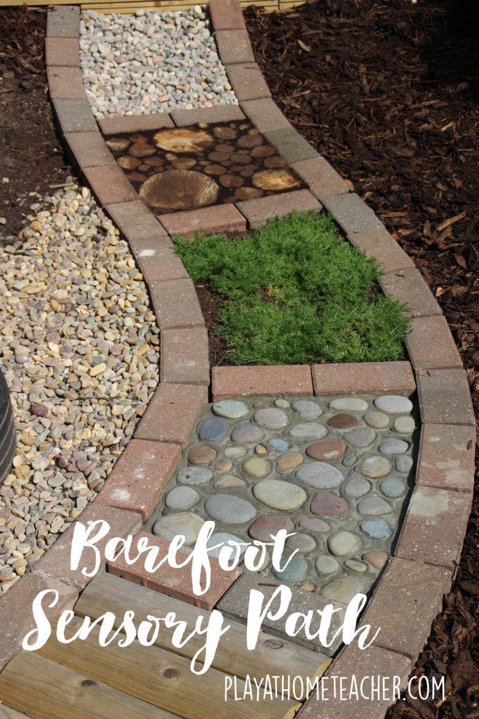 DIY Sensory garden path - such a cool idea!                                                                                                                                                     More
