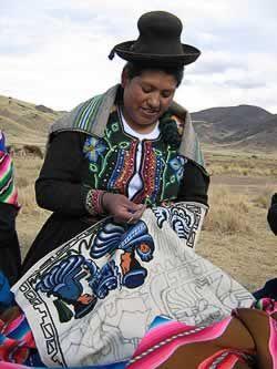 Peruvian embroidery in the lake Titicaca  area.