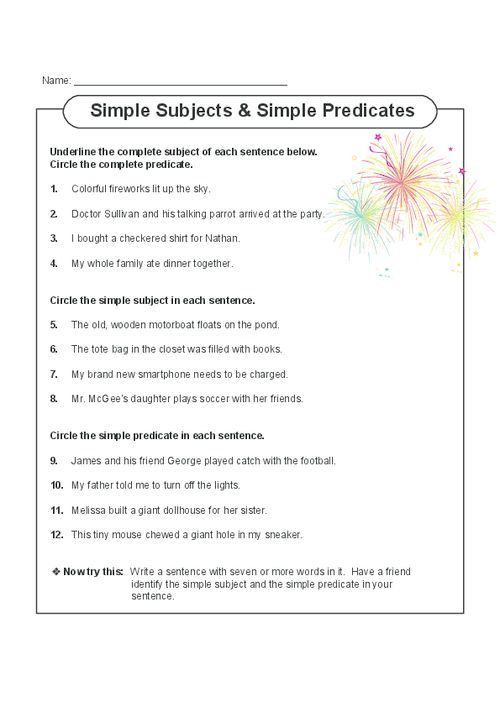 This free, printable worksheet gets students focusing on both simple and complete subjects and predicates. Read the sentences with your child, and have them complete the exercises. Also includes a writing activity at the end which can be done with a partner or parent.   Read more at http://kidspressmagazine.com/subject-and-predicate/worksheets/misc/simple-subjects-and-predicates.html#BB6V5D3uo7m6oJhE.99  #grammar, #english, #worksheet, #subject, #predicate