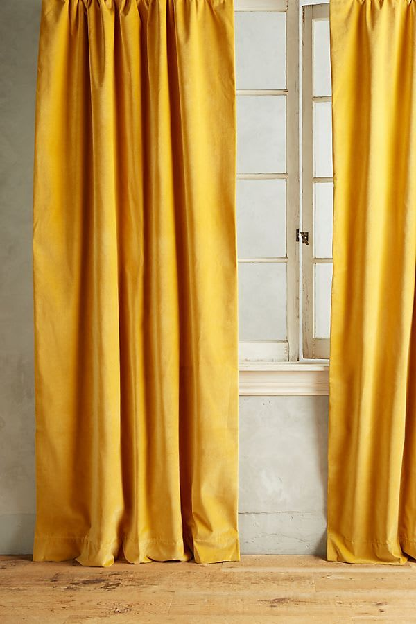 What Colors Go With Yellow Home Color Pairing Ideas Anthropologie Furniture Velvet Curtains Yellow Curtains