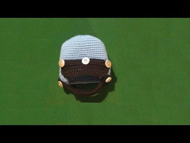 """Cappello neonato all'uncinetto """" Casco da motociclista"""" - tutorial  crochet baby hat"""