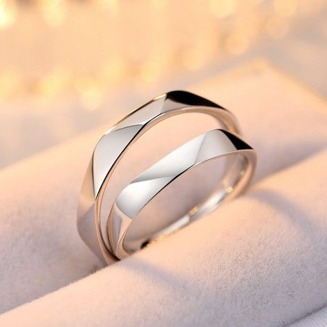 Original Multi-Section Cut Design 925 Silver Open Design Couple Rings – aros matrimonio