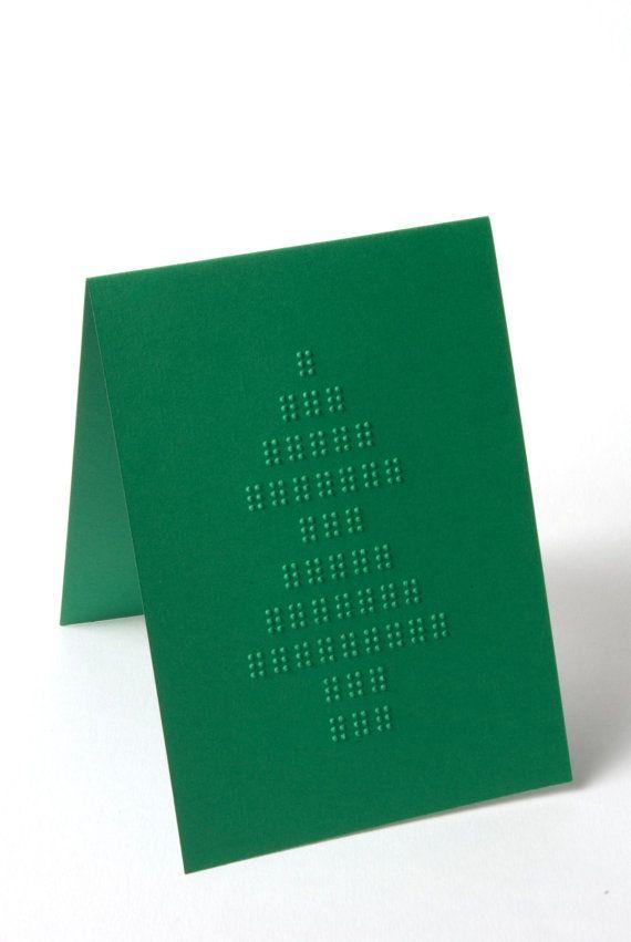 Carte de Noël de braille  Arbre de Noël  Vert par BethLauBraille