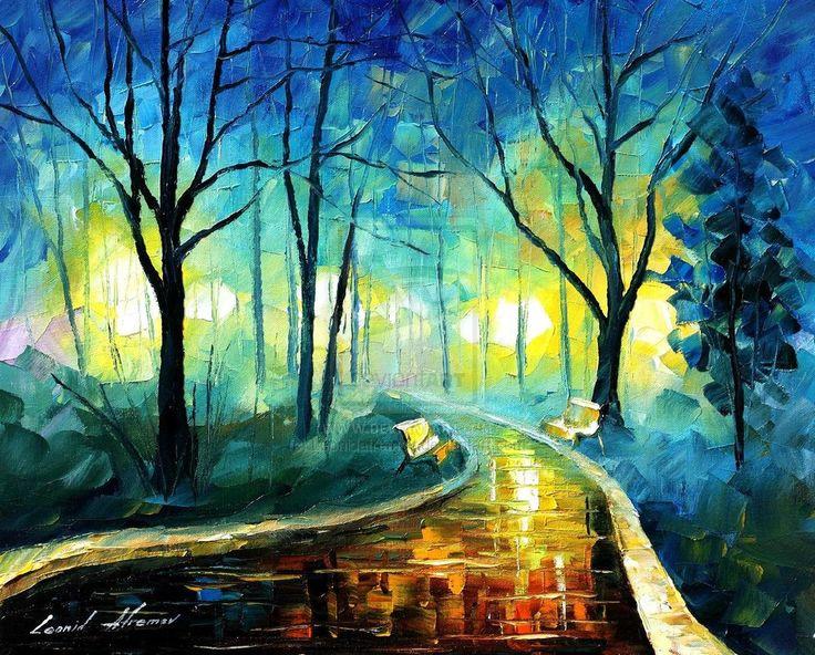 Foggy park by Leonid Afremov.